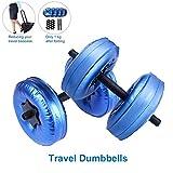 1 par de mancuernas de peso ajustable rellenas de agua, 8 – 20 kg portátiles para gimnasio, hogar y exterior, viajes, levantamiento de pesas, equipo de fitness para entrenamiento de culturismo, azul