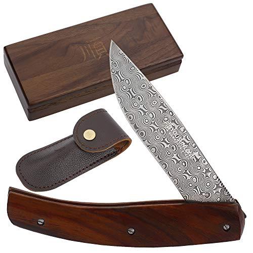 YOUSUNLONG Couteau de poche pliant extérieur, acier damassé japonais, cadeau de camping pour homme, 186 mm au total, manche en palissandre naturel avec étui en cuir