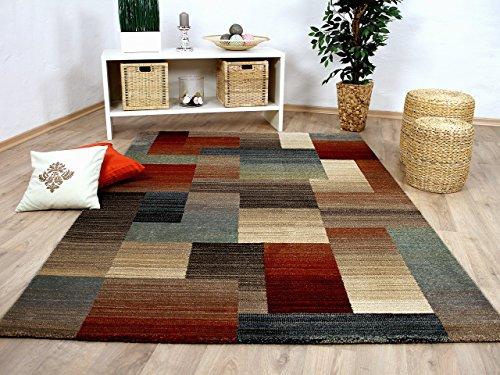 Sevilla Designer Teppich Klassik Karo Beige Rost in 5 Größen