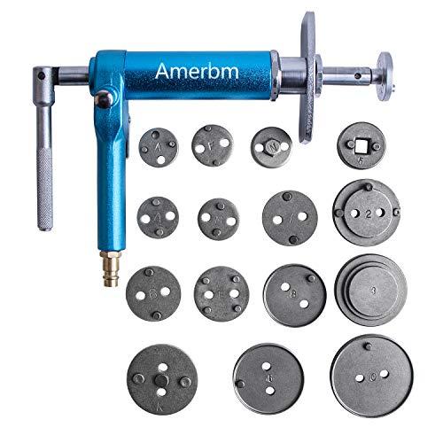 Amerbm 16PCS Air Pressure Brake Caliper Tool Set Wind Back Tool Kit Caliper Piston Compressor Tool Fit Most American European Japanese Autos
