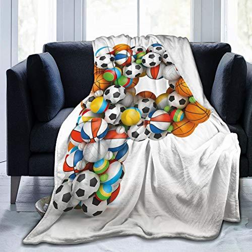 Manta mullida, diseño conceptual de la tipografía del alfabeto y temática deportiva con muchas bolas, manta de bebé ultra suave para dormitorio, cama, TV, manta de cama de 50 x 40 pulgadas