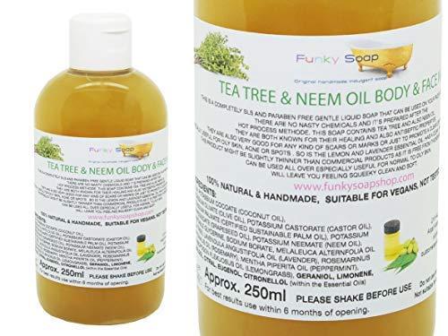 Funky Soap 1 Bouteille Thé& Arbre Neem Huile Liquide Corps & Visage 100% Naturel sans SLS 250ml