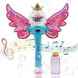 CREFUN Princess Bubble Wand Bubble Machine – Blue SB0823 Music Light Up Bubble Gun, Automatic Handheld Bubble Blower, Outdoor Bubble Toy for Kid Birthday Party Including 4.23 fl. oz Bubble Solution