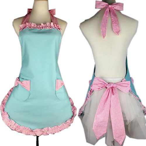 Aprons for Women, Cooking Retro Vintage Kitchen Aprons Plus Size with Tie, Pink