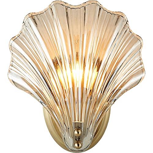 Lámpara de pared Simple Shell cobre sala de estar lámpara de pared luz personalidad de lujo moderno creativo dormitorio noche lámpara de noche decoración del hogar Aplique de pared al aire libre