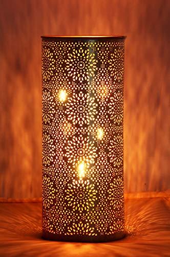Orientalisches Windlicht Laterne orientalisch Amelle 30cm Groß Gold | Orientalische Vintage Teelichthalter Weiß und Goldfarben innen und außen | Marokkanische Windlichter aus Metall als Dekoration