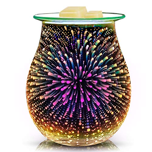 EQUSUPRO 3D Glass Electric Wax Melt Warmer Wax Burner Melter Fragrance Warmer for Home Office Bedroom Living Room Gifts & Decor (3D Fireworks)