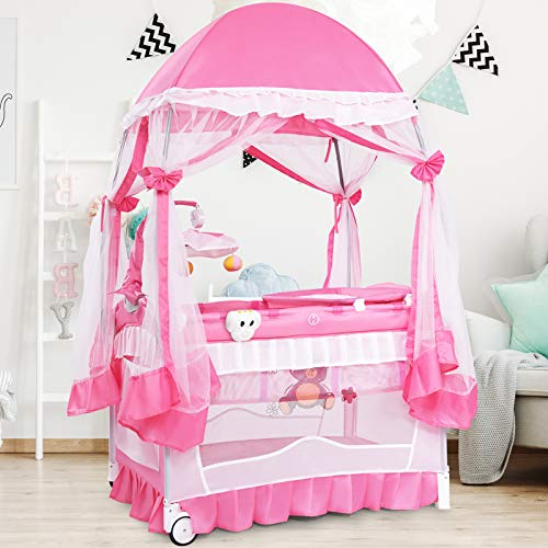 GYMAX Baby Foldable Travel Cot, Infant Bassinet Playpen Entryway with Mosquito Net, Changing Table, Music Box & Toys, Newborns Activity Play Center for 0-36 Months
