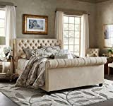 Spring Well, Sleigh style bed frame in Linen turin Fabric Buttons Upholstered Bed Frame in many colours (Beige, 5ft)