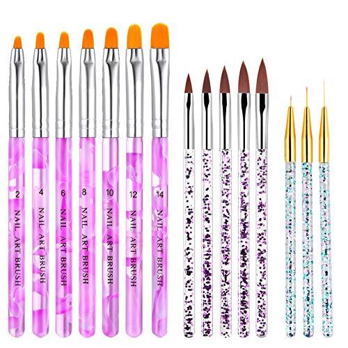 Nagellack Pinsel Set, 15 PCS Pinsel für Gelnägel NäGel Pinselset, UV Gel Acrylic Nail Art Brush für NäGel Malerei Zeichnen Werkzeuge Tragbar GelnäGel Zubehör
