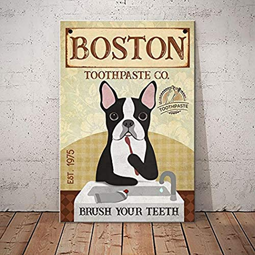 Black Dog Poster - Boston Dog Toothpaste Company - Brush Your Teeth Poster Wall Art Print Poster, Gifts for Children Friend Poster (12''x18'', 16''x24'' and 24''x36'')