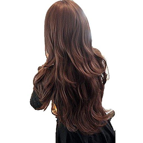 Vococal® Dames Femmes Cosplay Scroll Brun Foncé Frange Oblique Haute Température Fibre Duveteuse Perruque Longue Perruque de Cheveux Bouclés