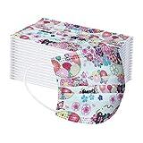 duquanxinquan 50pcs -3ply Protección de Nariz y Boca, Impresión de Patrón de mariposa, Embalaje higiénico Adecuado para Oficina, Exterior