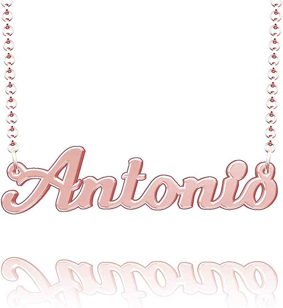 LoEnMe Jewelry Customized Antonio Name Necklace Stainless Steel Plated Custom Made of Last Name Gift for Family