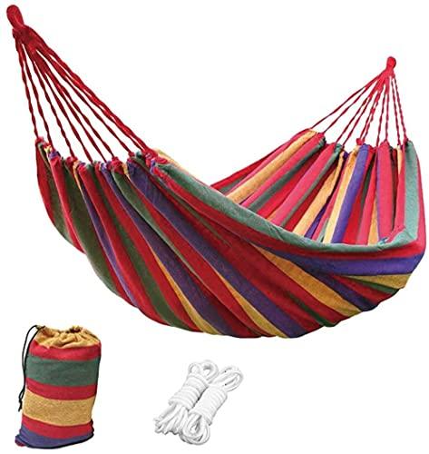 LVLUOKJ Columpio para Hamaca de Camping, Hamaca de Lona Doble portátil para Interior, Exterior, Camping, Viaje, Patio Trasero, Cama de Playa, 200 x 160 cm (Color : Red)