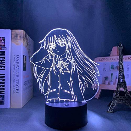 Luz de noche LED 3D- 3D Illusion Lamp Anime Angel Beats,3D LED Luz Nocturna para Niños,7 Colores Cambian con Control Remoto, Regalos para Niños Niñas