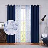 Nottingson Home Room Darkening Velvet Curtains 84 Inches Long Mix & Match Luxury Farmhouse Leaf Sheer Voile with Navy Blue Velvet Winow Drapes for Living Room/Bedroom/Patio 40x84,36x84-4 Panels