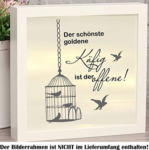 myrockshirt La più bella gabbia dorata è l'aperta con uccellini, circa 20 cm, 2 colori adesivi per cornice portafoto illuminata