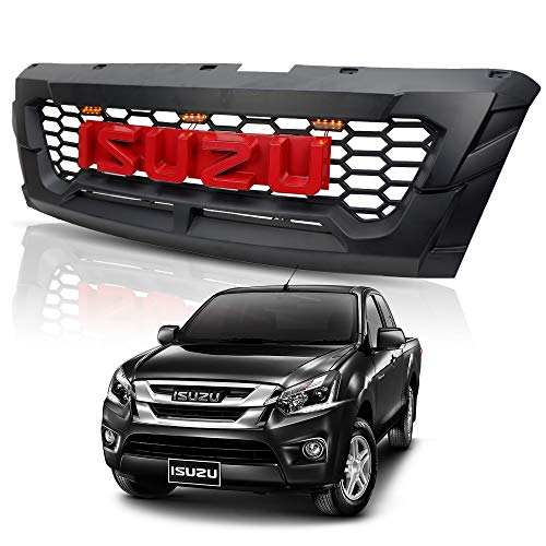 Powerwarauto Front Black Red Logo Grile Grill LED Trim For Isuzu D Max D-Max UTE Pick-Up 2018 2019 V.2