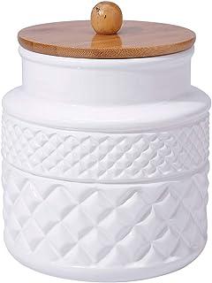 c3d451f771b Ceramic Food Storage Jar with Airtight Seal Wooden Lid - Modern Design  White Ceramic Kitchen Canister