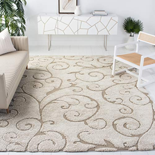 Safavieh Florida Shag Collection SG455-1113 Scrolling Vine Graceful Swirl Textured 1.18-inch Thick Area Rug, 6' x 9', Cream/Beige