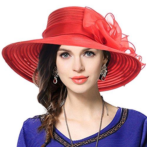 VECRY Mujer Elegante Iglesia Bautismo Boda Derby Sombrero Pamelas (Rojo)