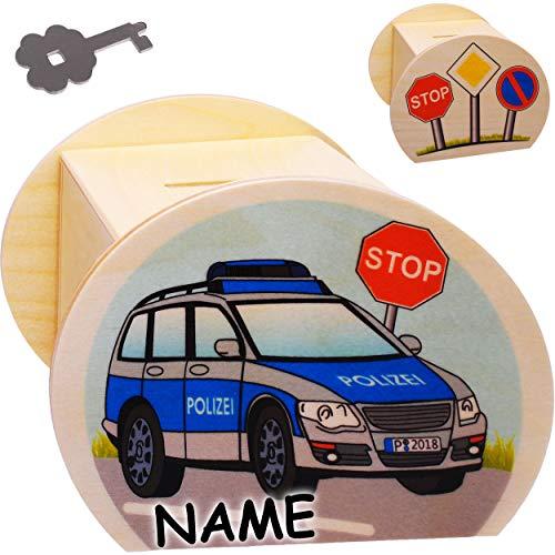 alles-meine.de GmbH große Holz - Spardose - Polizei / Polizeiauto - inkl. Name - mit Schlüssel & Schloß - stabile Sparbüchse - 11,5 cm - Sparschwein - für Kinder & Erwachsene - K..