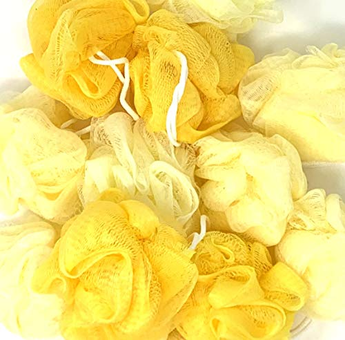 Loofah Lord 24 Yellow Bath or Shower Sponge Loofahs Pouf Medium Mesh Wholesale Bulk Lot