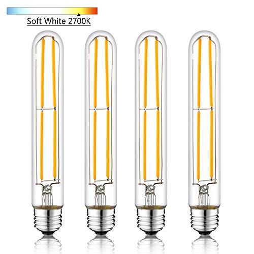 Novelux T10 Led Bulb, Soft White 2700K, 7.3 Inch Long Tubular Light Bulb, Dimmable Edison Led Bulbs 6W, Medium Base E26 Led Bulb, UL Listed, Pack of 4