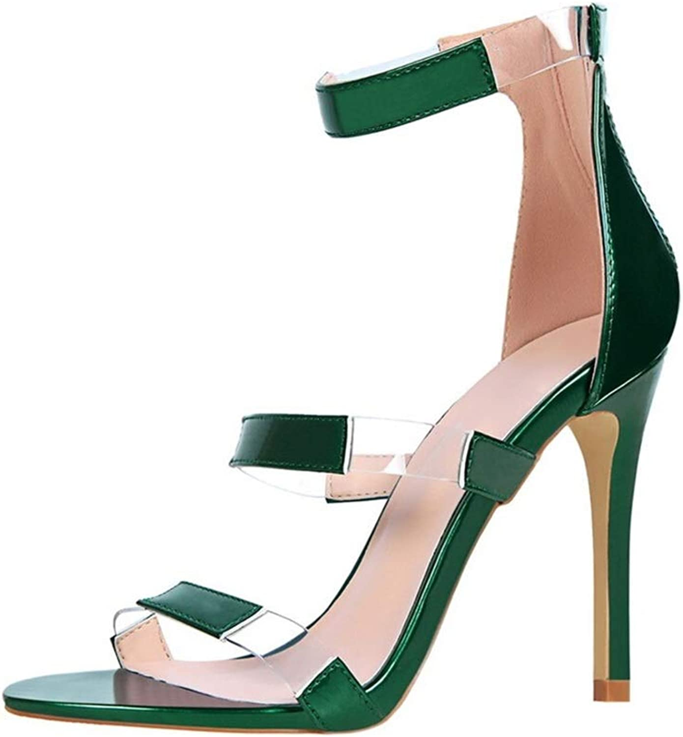 Sandals, Slim High Heels Superfine Heel Sexy Nightclub Hollow Party Party shoes Green 10cm (color   Green, Size   35)
