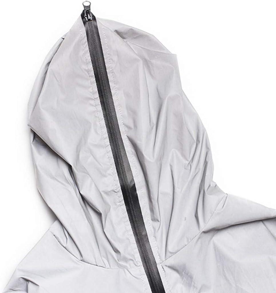 eipogp Couple Reflective Jacket Men/Women Waterproof Windbreaker Hooded Fashion Streetwear Plus Size Coat for Hiking Running