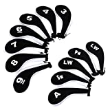 IGNPION Golf Iron Head Cover Club Heads Protector Wedge Headcovers Long Neck with Zip for Titleist, Callaway, Ping, Taylormade, Cobra, Nike (Black+White)