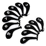 Fundas para cabeza de palo de golf hierro Ignpion, funda para cuña de cuello largo con cremallera para Titleist, Callaway, Ping, Taylormade, Cobra, Nike (paquete de 12), Black+White