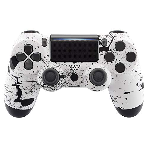eXtremeRate PS4 Schutzhülle Case Obere Hülle Cover Oberschale Gehäuse Skin Schale für Playstation 4 PS4 Slim PS4 Pro Controller JDM-040 JDM-050 JDM-055(Weiß)
