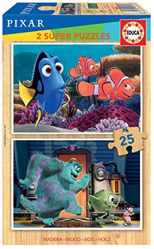 Educa - Disney Pixar : Buscando a Nemo y Monsters Inc 2 Puzzles Infantiles de Madera ecológica de 25 Piezas, a Partir de 3 años (18597)