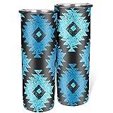 Vaso de estilo étnico con aislamiento azul con tapa y pajita de acero inoxidable flaco taza de viaje simple adecuado para portavasos de coche blanco 600 ml (20 oz)