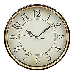 Truu Design CTG Decorative Vintage Antique Round Wall Clock, 12 x 12 inches, Beige, Brown