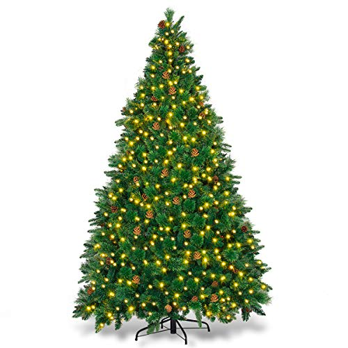 Goplus Artificial Christmas Tree Premium Spruce Hinged Tree with LED Lights and Solid Metal Stand, UL-Certified Transformer (7.5ft, 1393 Branch Tips, 750 Lights, 45 Pine Cone)