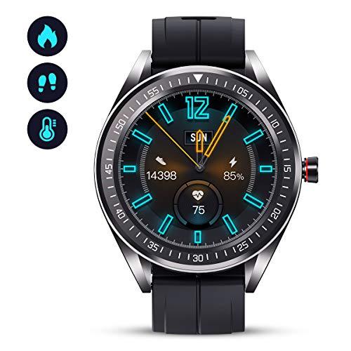 GOKOO Smartwatch GPS Fitness Armbanduhr Damen Herren IP68 Wasserdicht Herzfrequenz-Schlafmonitor Schrittzähler Kalorienzähler Voll-Touchscreen Intelligente Uhren für iOS Android