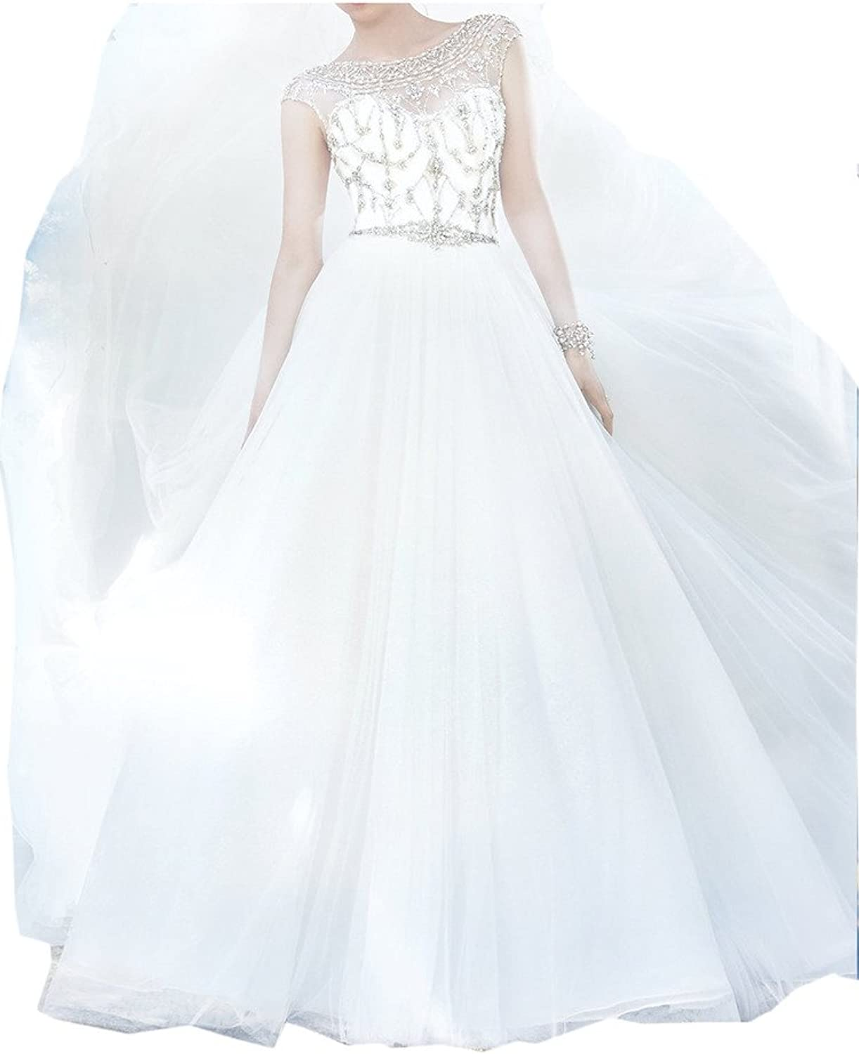 Avril Dress Tulle Beading Rhinestone Wedding Gown Backless With Chapel Train