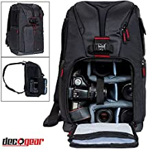 Deco Gear DSLR Camera Backpack, Customizable Compartments for Cameras, Lenses, Accessories & Laptop, Weather Protective, Perfect for Canon Nikon & Sony Photographers (Can Also Turn Into Sling Bag)