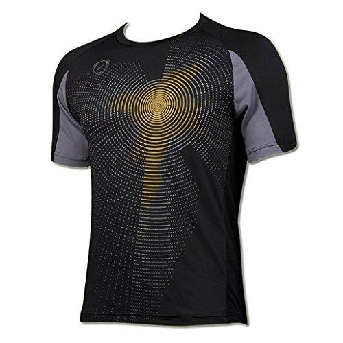 jeansian Hombre Sport Dry Fit Deportiva tee Shirt Tshirt T-Shirt Manga Corta Tenis Golf Bowling Camisetas LSL013 Black XL
