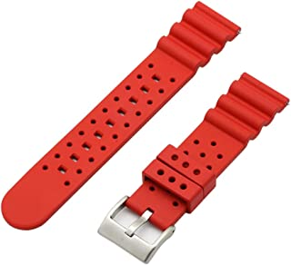 Janst Watch Bands Breathable Silicone Rubber Replacement Straps with Quick Release 20mm 22mm 24mm (22mm, Red)