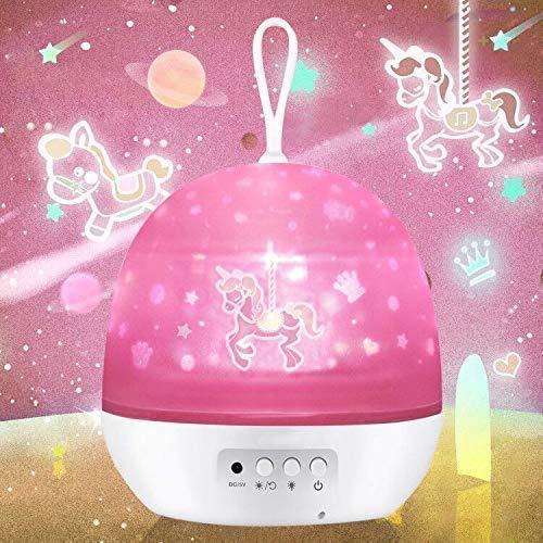 Luce notturna per ragazze, lampada per proiettore per bambini 4 in 1 con giostra Stella Oceano Universo,Regali di compleanno di Natale per 1 2 3 4 5 6 7 8 9 anni Giocattoli per bambine