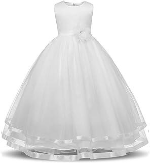 GFDGG ノースリーブフラワーリボントリムファンシーメッシュチュールチュチュドレスホリデープリンセスドレスページェント夜会服の女の子フォーマルウエディングウェディングドレス女の子のドレス子供の誕生日パーティードレス (色 : 白, サイズ : 150)