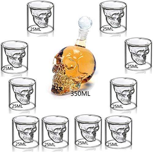 Venlen Boom Wijn Decanter Set Schedel Karaf met Stopper en 10 Whiskey Bril