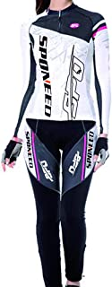 sponeed Women's Cycle Jersey Full Sleeve Cushioned Pants Bike Tights Gel Padded Road Bike Moutain Riding Wear
