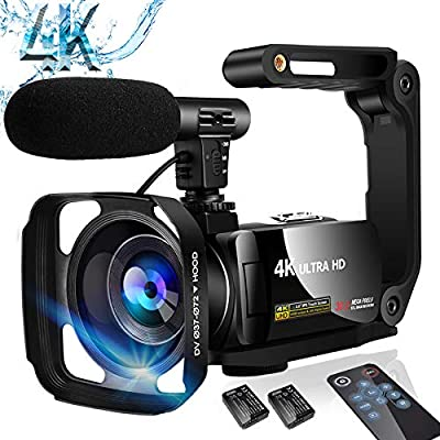 Video Camera Camcorder 4K Digital YouTube Vlogging Camera,48M 16X Digital Zoom Camcorder 3 in Touch Screen Camcorder with Microphone Handhold Stabilizer from SAULEOO