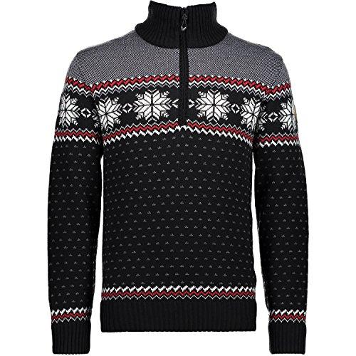Campagnolo Herren Freizeit Ski Windstopper Strickpullover norweger Style schwarz, Größe:58