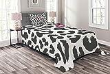 ABAKUHAUS Safari Tagesdecke Set, Gepard-Leopard-Kuss, Set mit Kissenbezug Waschbar, für Einselbetten 170 x 220 cm, Anthrazit grau Rosa
